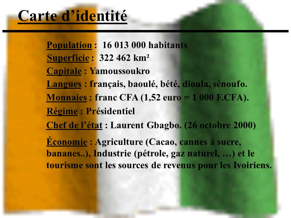 Carte didentité Économie : Agriculture (Cacao, cannes à sucre, bananes..), Industrie (pétrole, gaz naturel, …) et le tourisme sont les sources de revenus pour les Ivoiriens.