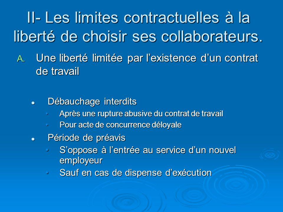 II- Les limites contractuelles à la liberté de choisir ses collaborateurs. A. Une liberté limitée par lexistence dun contrat de travail Débauchage int