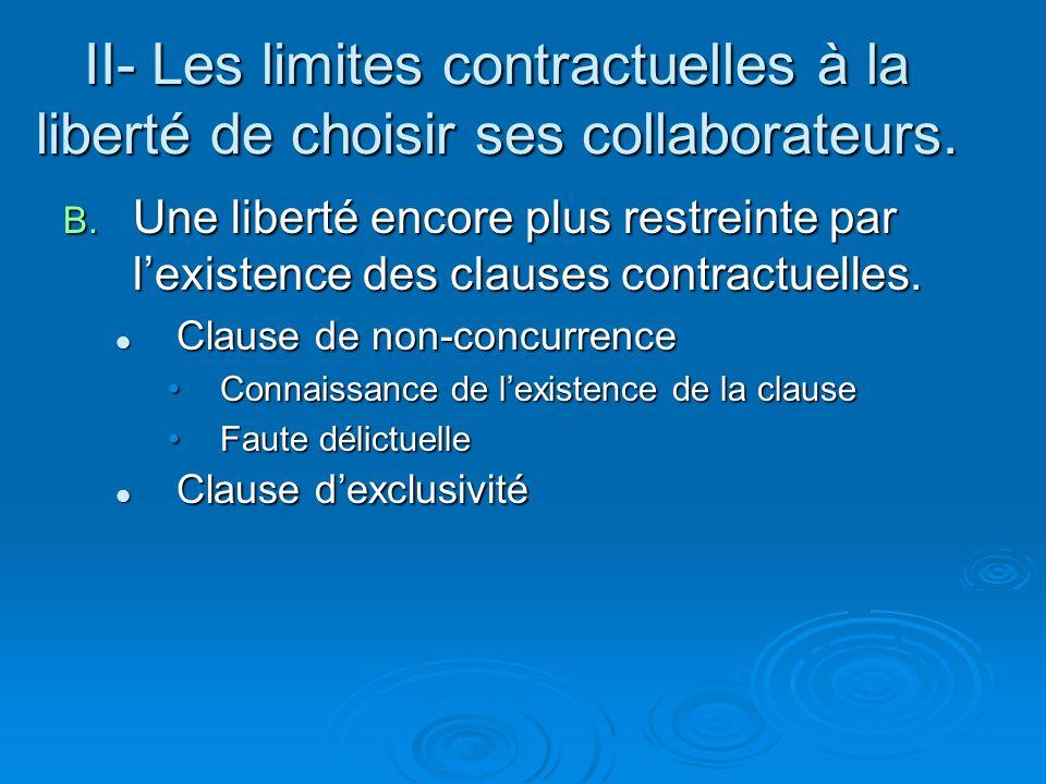 B. Une liberté encore plus restreinte par lexistence des clauses contractuelles. Clause de non-concurrence Clause de non-concurrence Connaissance de l