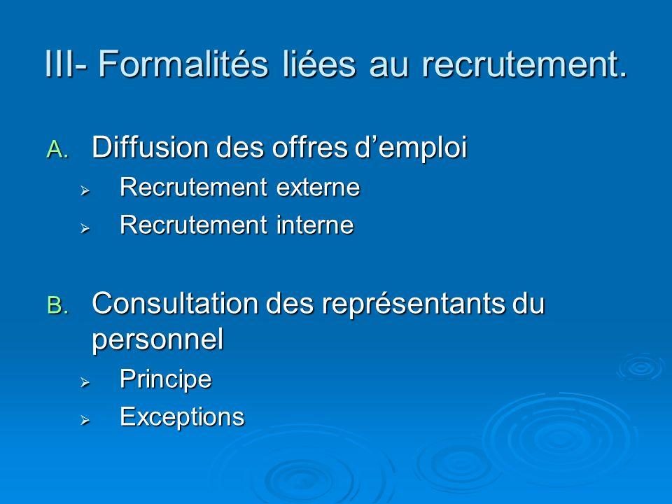 III- Formalités liées au recrutement. A. Diffusion des offres demploi Recrutement externe Recrutement externe Recrutement interne Recrutement interne