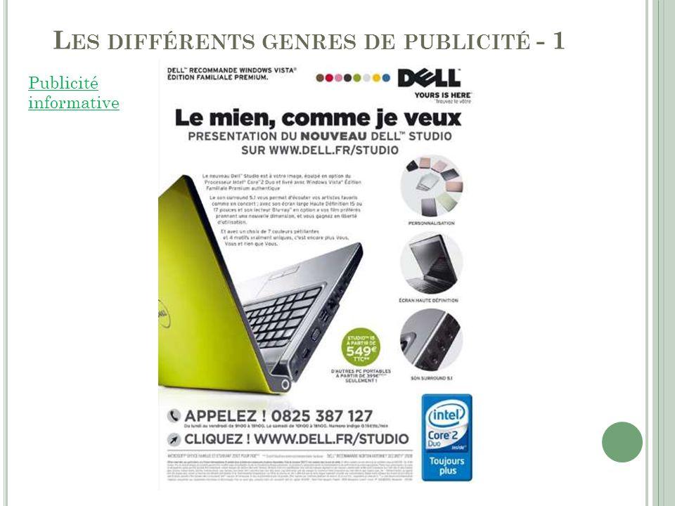 L ES DIFFÉRENTS GENRES DE PUBLICITÉ - 2 2.