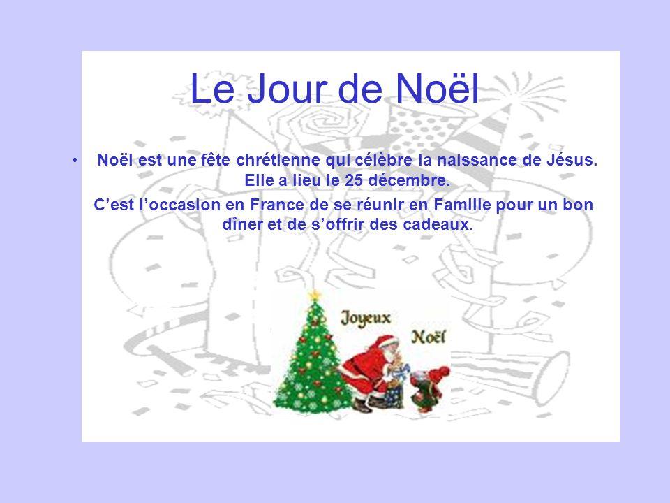 Le Jour de Noël Noël est une fête chrétienne qui célèbre la naissance de Jésus. Elle a lieu le 25 décembre. Cest loccasion en France de se réunir en F