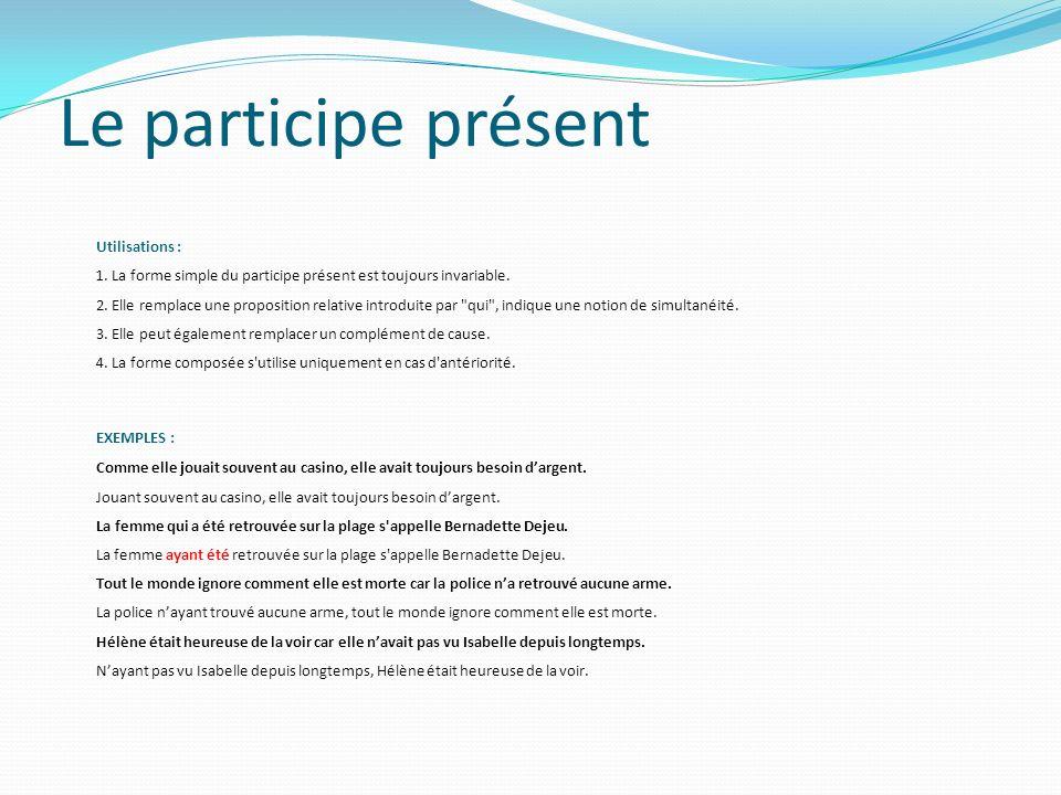 Le participe présent Utilisations : 1.
