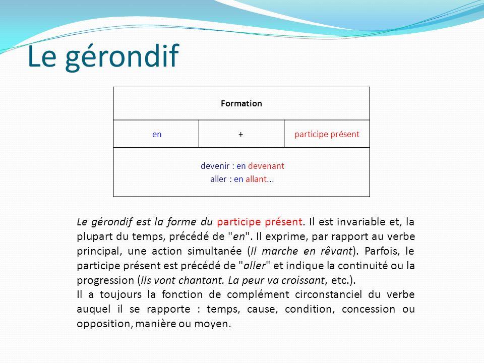 Le gérondif Formation en + participe présent devenir : en devenant aller : en allant...
