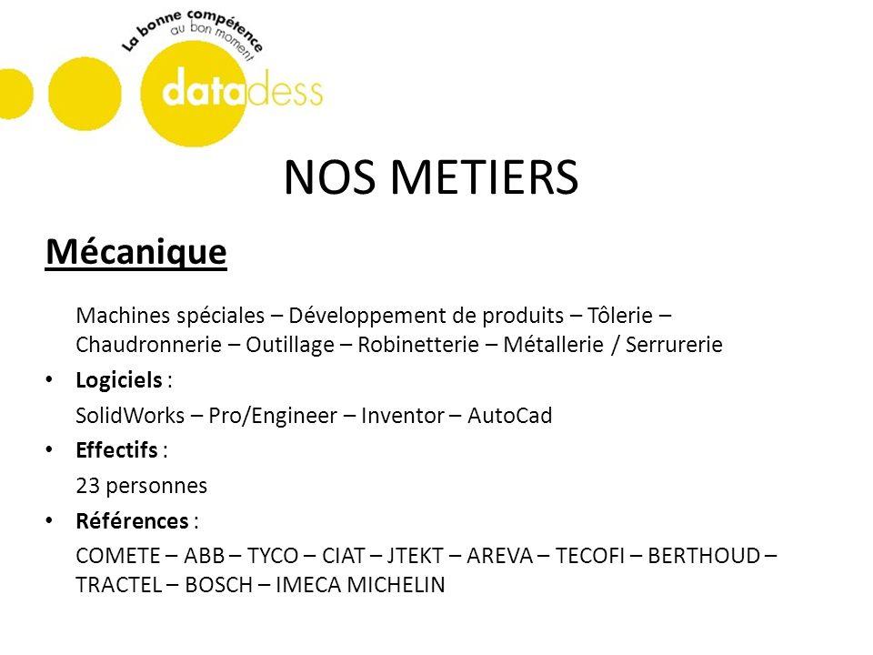 NOS METIERS Mécanique Machines spéciales – Développement de produits – Tôlerie – Chaudronnerie – Outillage – Robinetterie – Métallerie / Serrurerie Lo