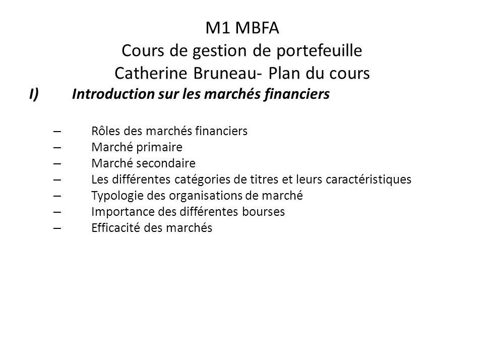 M1 MBFA Cours de gestion de portefeuille Catherine Bruneau- Plan du cours I)Introduction sur les marchés financiers – Rôles des marchés financiers – M