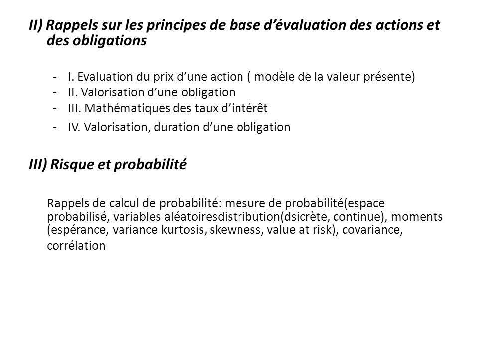 II) Rappels sur les principes de base dévaluation des actions et des obligations -I. Evaluation du prix dune action ( modèle de la valeur présente) -I