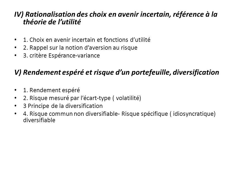 IV) Rationalisation des choix en avenir incertain, référence à la théorie de lutilité 1. Choix en avenir incertain et fonctions dutilité 2. Rappel sur