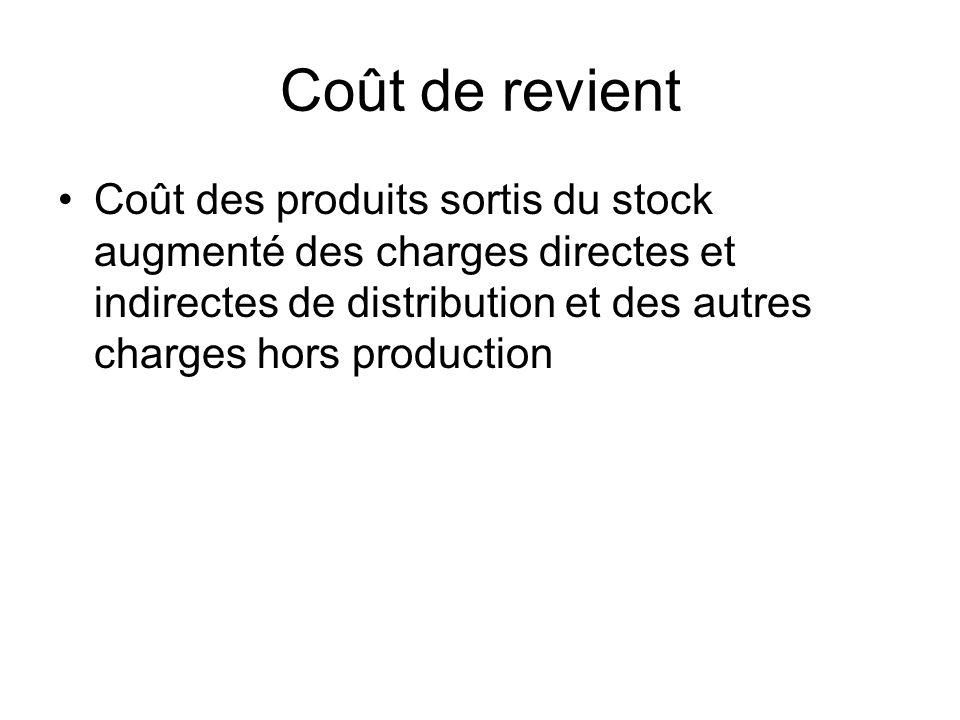 Coût de revient Coût des produits sortis du stock augmenté des charges directes et indirectes de distribution et des autres charges hors production