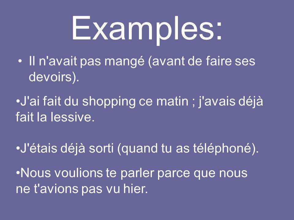 Exercises: http://www.laits.utexas.edu/tex/gr/tap9.htm http://fr.tsedryk.ca/grammaire/plusqueparfait/exercices/te mps.passe1.htmhttp://fr.tsedryk.ca/grammaire/plusqueparfait/exercices/te mps.passe1.htm http://vclass.mtsac.edu:910/french4/exercises/include/filli n.asp?ex=etourdihttp://vclass.mtsac.edu:910/french4/exercises/include/filli n.asp?ex=etourdi http://fis.ucalgary.ca/fr/217/ex/1Diag2.htm