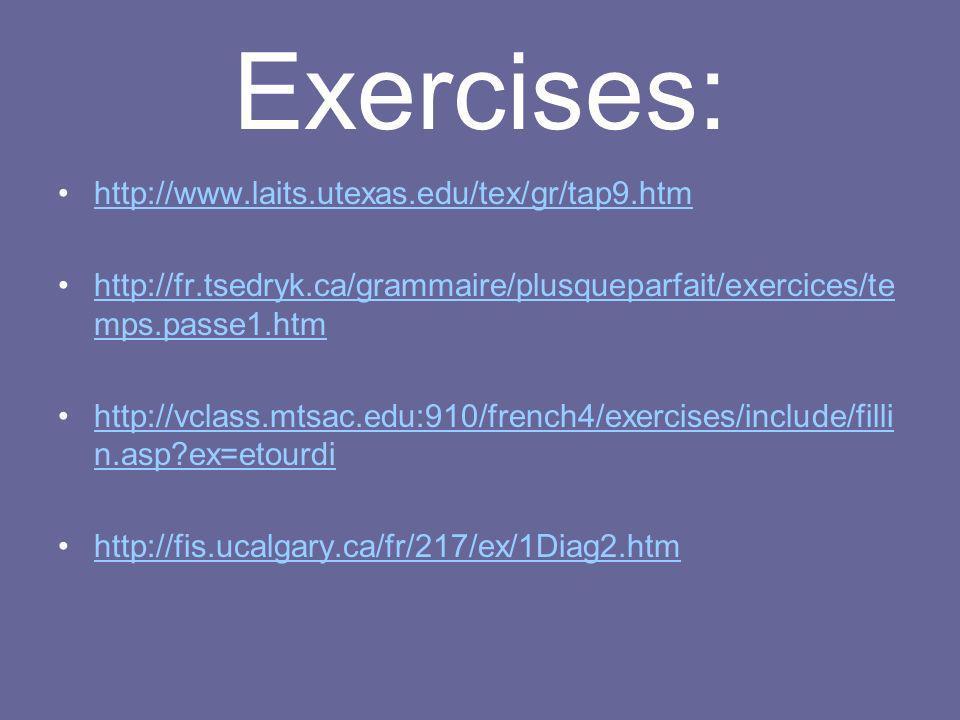 Exercises: http://www.laits.utexas.edu/tex/gr/tap9.htm http://fr.tsedryk.ca/grammaire/plusqueparfait/exercices/te mps.passe1.htmhttp://fr.tsedryk.ca/g