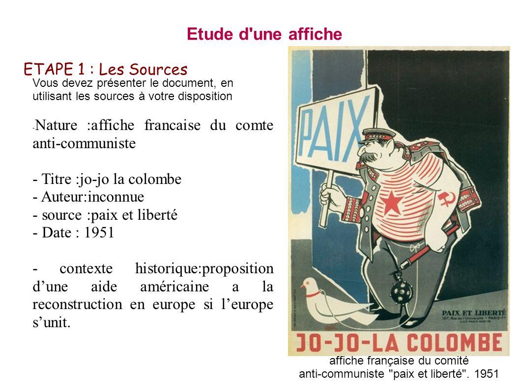ETAPE 1 : Les Sources Vous devez présenter le document, en utilisant les sources à votre disposition - Nature :affiche francaise du comte anti-communi