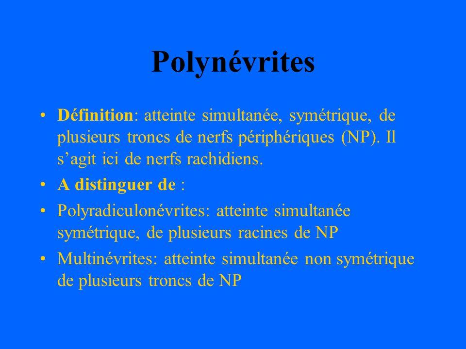 Polynévrites Définition: atteinte simultanée, symétrique, de plusieurs troncs de nerfs périphériques (NP). Il sagit ici de nerfs rachidiens. A disting