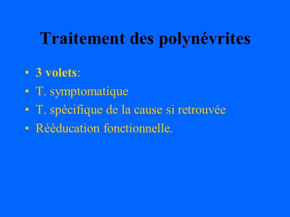 Traitement des polynévrites 3 volets: T. symptomatique T. spécifique de la cause si retrouvée Rééducation fonctionnelle.