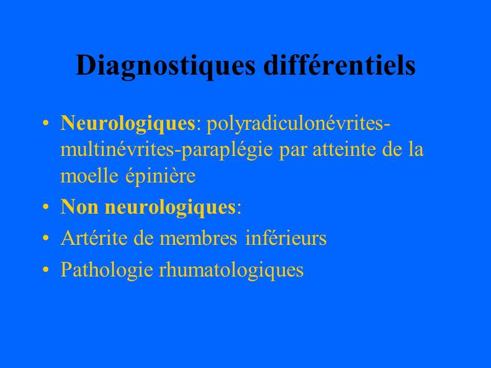 Diagnostiques différentiels Neurologiques: polyradiculonévrites- multinévrites-paraplégie par atteinte de la moelle épinière Non neurologiques: Artéri