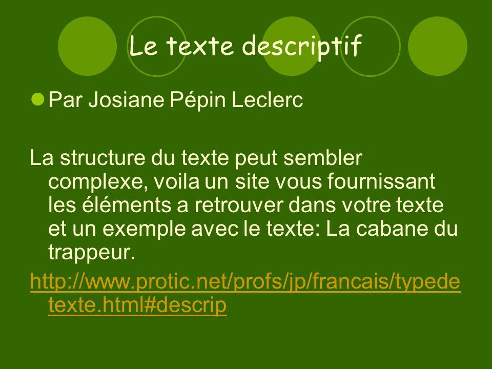 Le texte descriptif Par Josiane Pépin Leclerc La structure du texte peut sembler complexe, voila un site vous fournissant les éléments a retrouver dans votre texte et un exemple avec le texte: La cabane du trappeur.