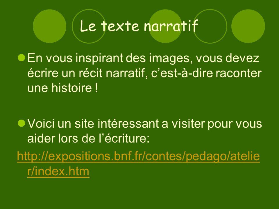 Le texte narratif En vous inspirant des images, vous devez écrire un récit narratif, cest-à-dire raconter une histoire .
