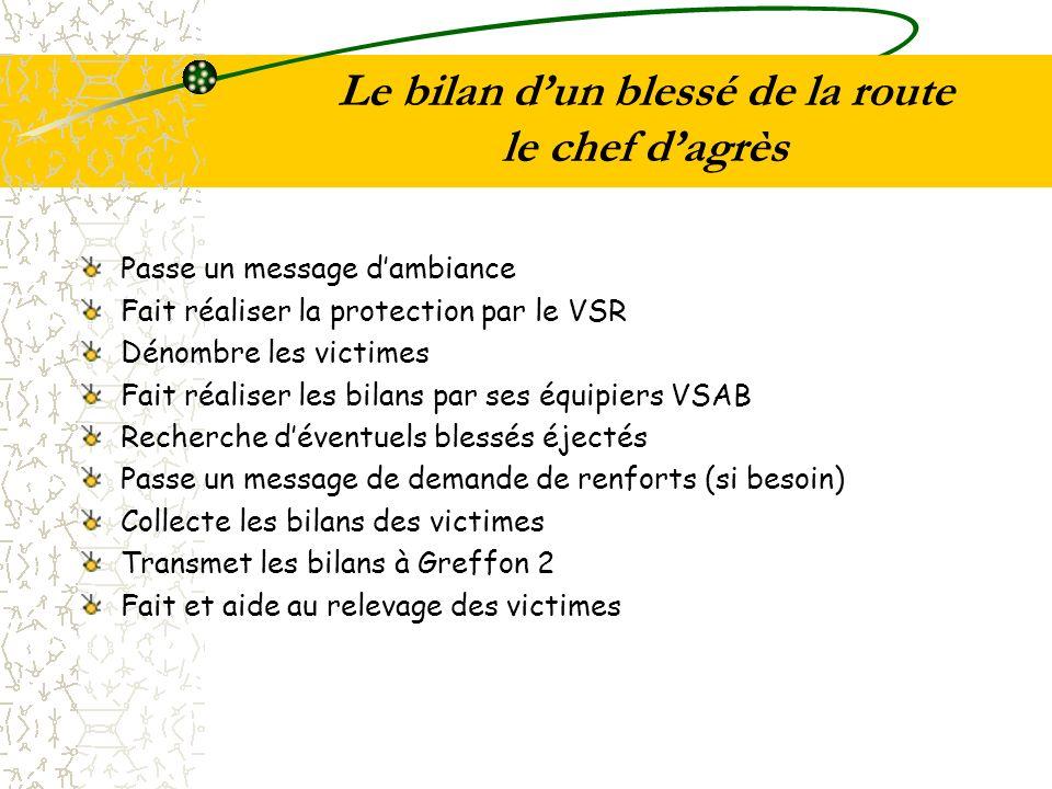 Le bilan dun blessé de la route le chef dagrès Passe un message dambiance Fait réaliser la protection par le VSR Dénombre les victimes Fait réaliser l