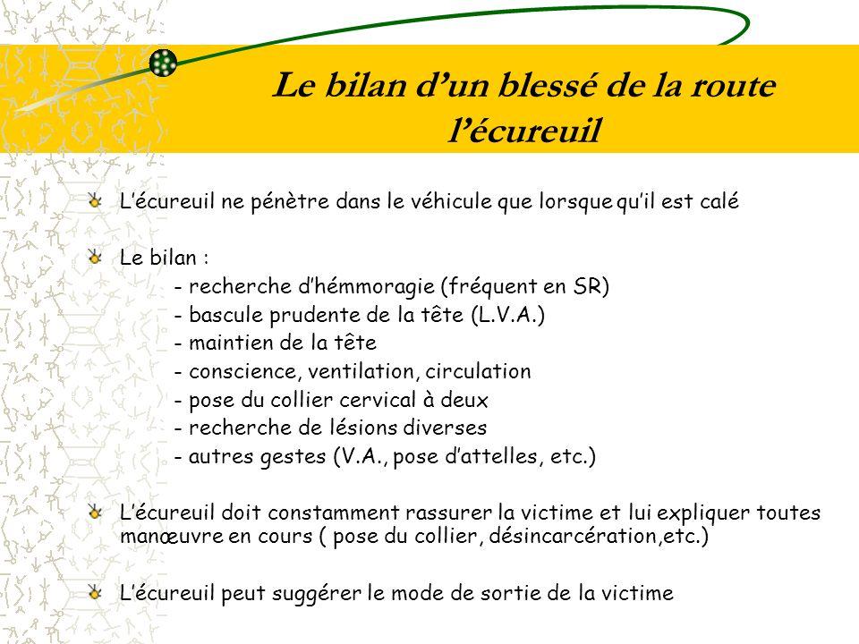 Le bilan dun blessé de la route lécureuil Lécureuil ne pénètre dans le véhicule que lorsque quil est calé Le bilan : - recherche dhémmoragie (fréquent