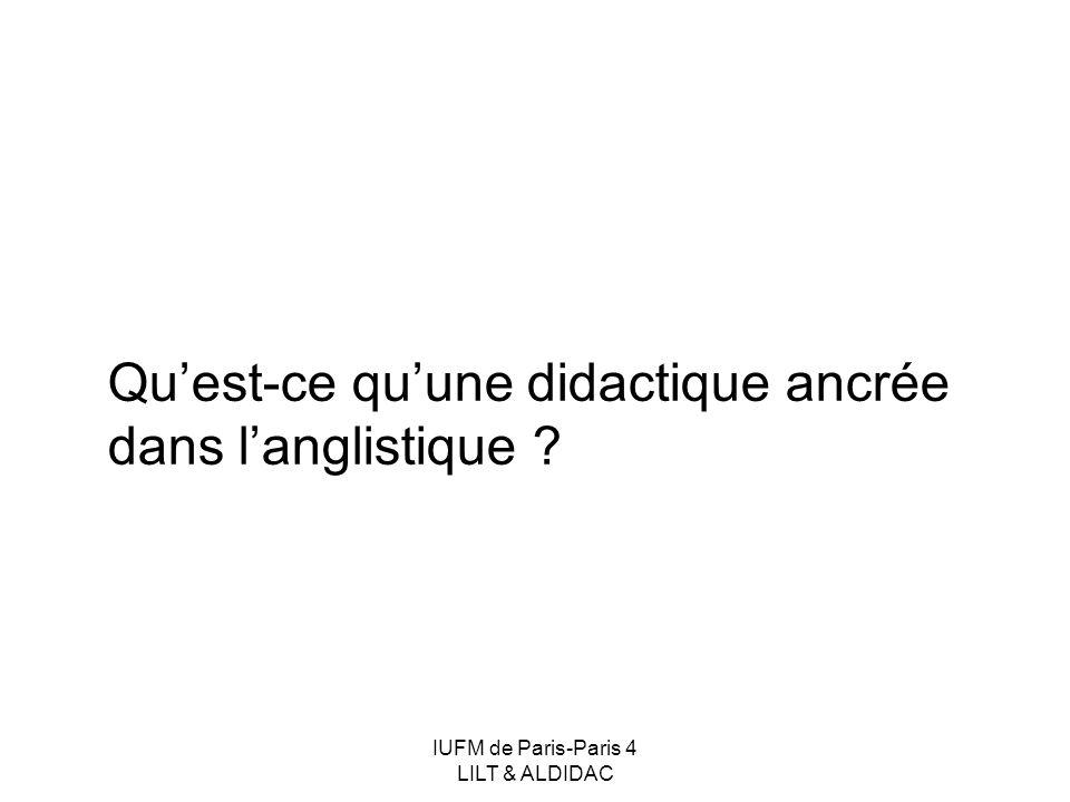 IUFM de Paris-Paris 4 LILT & ALDIDAC Une didactique ancrée dans langlistique Un champ dinvestigation complexe Didactique des langues et dimension internationale