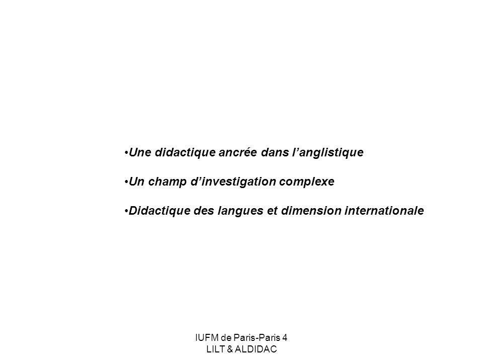 IUFM de Paris-Paris 4 LILT & ALDIDAC Une didactique ancrée dans langlistique Un champ dinvestigation complexe Didactique des langues et dimension inte