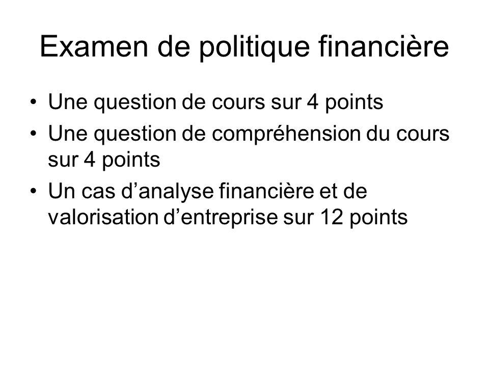 Examen de politique financière Une question de cours sur 4 points Une question de compréhension du cours sur 4 points Un cas danalyse financière et de