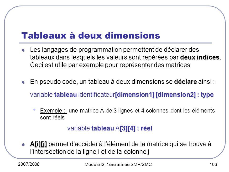 2007/2008 Module I2, 1ère année SMP/SMC 103 Tableaux à deux dimensions deux indices Les langages de programmation permettent de déclarer des tableaux dans lesquels les valeurs sont repérées par deux indices.