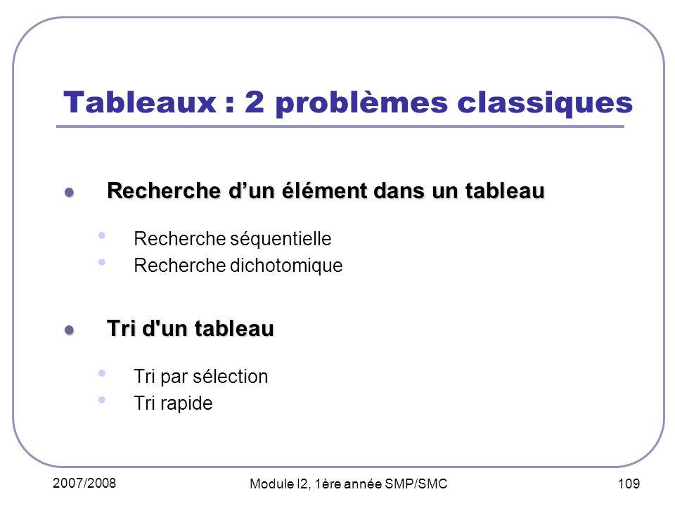 2007/2008 Module I2, 1ère année SMP/SMC 109 Tableaux : 2 problèmes classiques Recherche dun élément dans un tableau Recherche dun élément dans un tableau Recherche séquentielle Recherche dichotomique Tri d un tableau Tri d un tableau Tri par sélection Tri rapide
