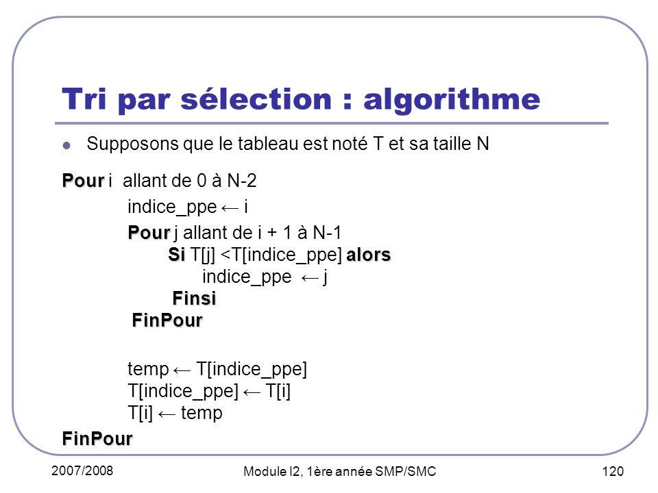 2007/2008 Module I2, 1ère année SMP/SMC 120 Tri par sélection : algorithme Supposons que le tableau est noté T et sa taille N Pour Pour i allant de 0 à N-2 indice_ppe i Pour Sialors Finsi FinPour Pour j allant de i + 1 à N-1 Si T[j] <T[indice_ppe] alors indice_ppe j Finsi FinPour temp T[indice_ppe] T[indice_ppe] T[i] T[i] tempFinPour