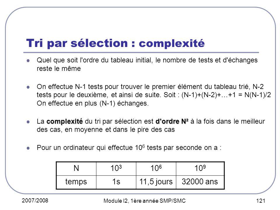 2007/2008 Module I2, 1ère année SMP/SMC 121 Tri par sélection : complexité Quel que soit l ordre du tableau initial, le nombre de tests et d échanges reste le même On effectue N-1 tests pour trouver le premier élément du tableau trié, N-2 tests pour le deuxième, et ainsi de suite.