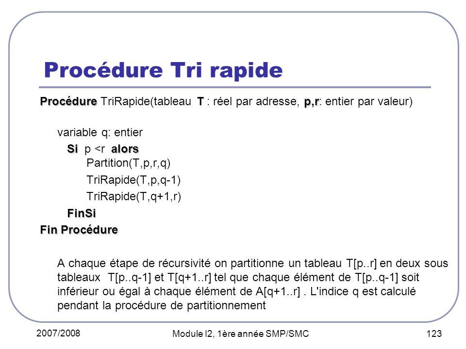 2007/2008 Module I2, 1ère année SMP/SMC 123 Procédure Tri rapide ProcédureTp,r Procédure TriRapide(tableau T : réel par adresse, p,r: entier par valeur) variable q: entier Sialors Si p <r alors Partition(T,p,r,q) TriRapide(T,p,q-1) TriRapide(T,q+1,r) FinSi Fin Procédure A chaque étape de récursivité on partitionne un tableau T[p..r] en deux sous tableaux T[p..q-1] et T[q+1..r] tel que chaque élément de T[p..q-1] soit inférieur ou égal à chaque élément de A[q+1..r].