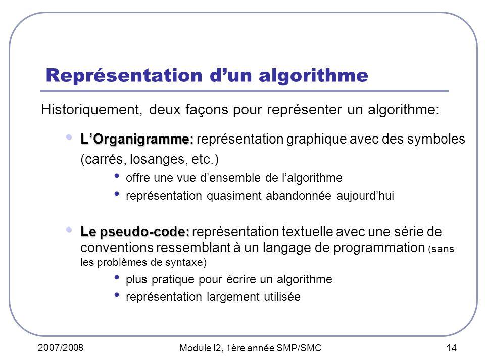 2007/2008 Module I2, 1ère année SMP/SMC 14 Représentation dun algorithme Historiquement, deux façons pour représenter un algorithme: LOrganigramme: LOrganigramme: représentation graphique avec des symboles (carrés, losanges, etc.) offre une vue densemble de lalgorithme représentation quasiment abandonnée aujourdhui Le pseudo-code: Le pseudo-code: représentation textuelle avec une série de conventions ressemblant à un langage de programmation (sans les problèmes de syntaxe) plus pratique pour écrire un algorithme représentation largement utilisée