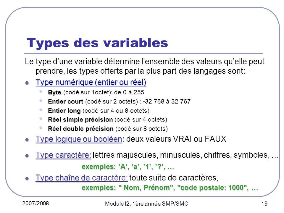 2007/2008 Module I2, 1ère année SMP/SMC 19 Types des variables Le type dune variable détermine lensemble des valeurs quelle peut prendre, les types offerts par la plus part des langages sont: Type numérique (entier ou réel) Type numérique (entier ou réel) Byte Byte (codé sur 1octet): de 0 à 255 Entier court Entier court (codé sur 2 octets) : -32 768 à 32 767 Entier long Entier long (codé sur 4 ou 8 octets) Réel simple précision Réel simple précision (codé sur 4 octets) Réel double précision Réel double précision (codé sur 8 octets) Type logique ou booléen: Type logique ou booléen: deux valeurs VRAI ou FAUX Type caractère: Type caractère: lettres majuscules, minuscules, chiffres, symboles, … exemples: A, a, 1, ?, … Type chaîne de exemples: Nom, Prénom , code postale: 1000 , … Type chaîne de caractère: toute suite de caractères, exemples: Nom, Prénom , code postale: 1000 , …