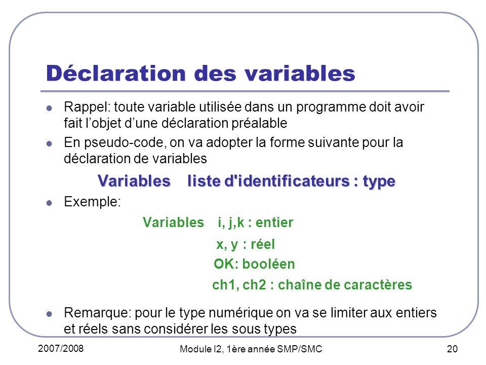 2007/2008 Module I2, 1ère année SMP/SMC 20 Déclaration des variables Rappel: toute variable utilisée dans un programme doit avoir fait lobjet dune déclaration préalable En pseudo-code, on va adopter la forme suivante pour la déclaration de variables Variables liste d identificateurs : type Exemple: Variables i, j,k : entier x, y : réel OK: booléen ch1, ch2 : chaîne de caractères Remarque: pour le type numérique on va se limiter aux entiers et réels sans considérer les sous types