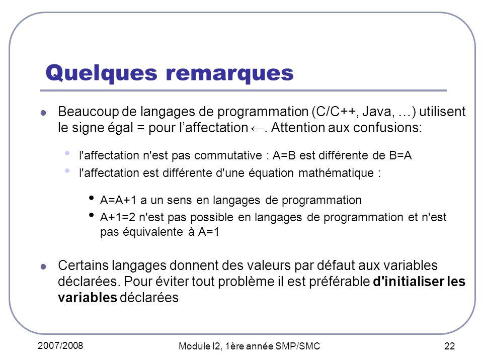 2007/2008 Module I2, 1ère année SMP/SMC 22 Quelques remarques Beaucoup de langages de programmation (C/C++, Java, …) utilisent le signe égal = pour laffectation.