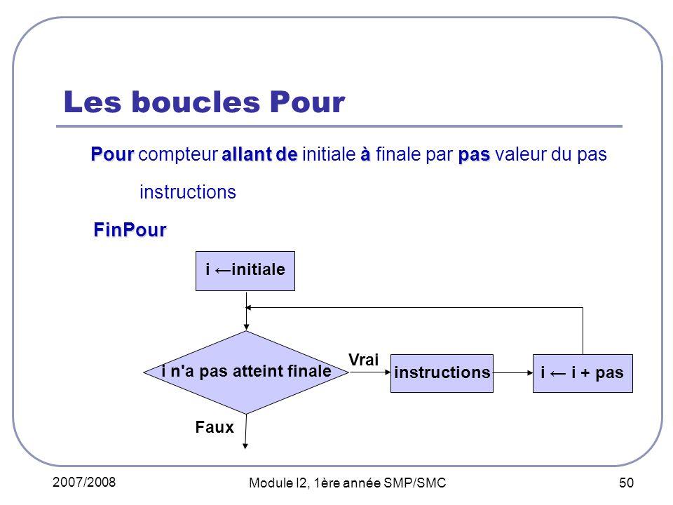 2007/2008 Module I2, 1ère année SMP/SMC 50 Les boucles Pour Pour allant de à pas Pour compteur allant de initiale à finale par pas valeur du pas instr