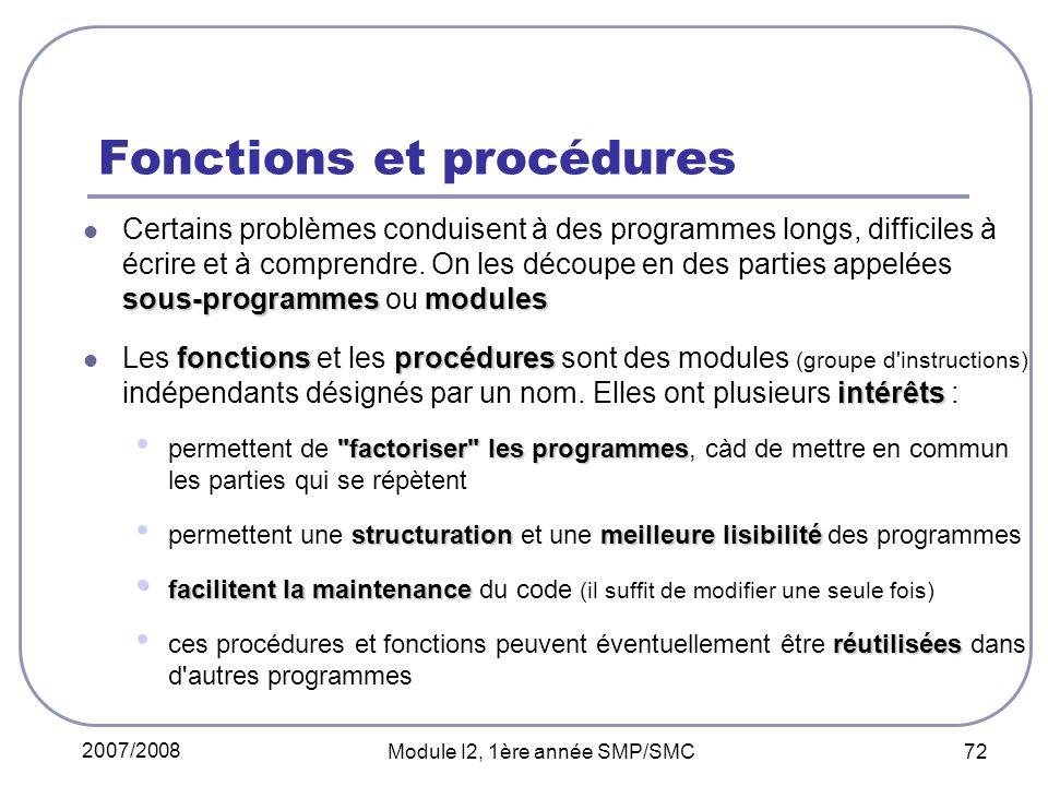 2007/2008 Module I2, 1ère année SMP/SMC 72 Fonctions et procédures sous-programmesmodules Certains problèmes conduisent à des programmes longs, difficiles à écrire et à comprendre.