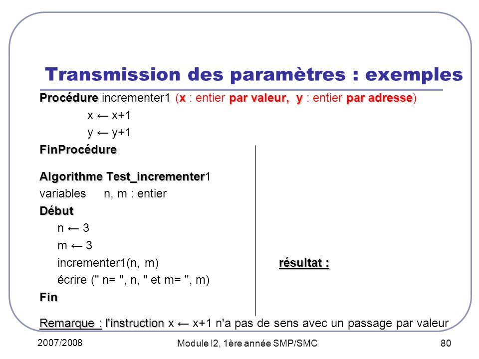 2007/2008 Module I2, 1ère année SMP/SMC 80 Transmission des paramètres : exemples Procédurexpar valeur, ypar adresse Procédure incrementer1 (x : entier par valeur, y : entier par adresse) x x+1 y y+1FinProcédure Algorithme Test_incrementer Algorithme Test_incrementer1 variables n, m : entierDébut n 3 m 3 résultat : incrementer1(n, m) résultat : n=3 et m=4 écrire ( n= , n, et m= , m) n=3 et m=4Fin Remarque : l instruction Remarque : l instruction x x+1 n a pas de sens avec un passage par valeur