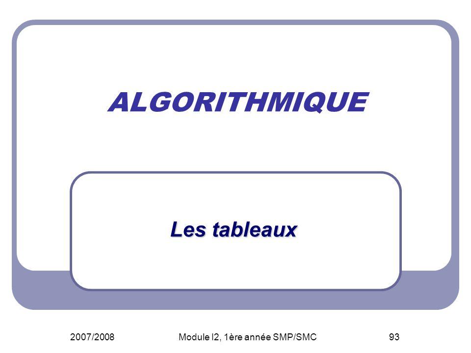 2007/2008Module I2, 1ère année SMP/SMC93 ALGORITHMIQUE Les tableaux