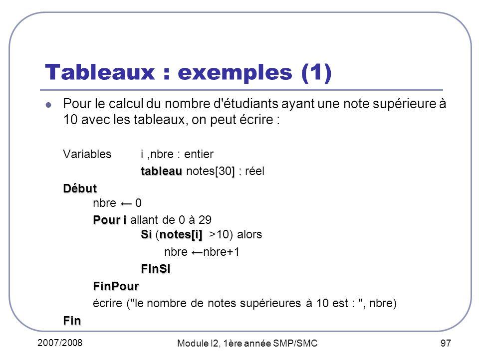2007/2008 Module I2, 1ère année SMP/SMC 97 Tableaux : exemples (1) Pour le calcul du nombre d étudiants ayant une note supérieure à 10 avec les tableaux, on peut écrire : Variables i,nbre : entier tableau ] : tableau notes[30] : réel Début Début nbre 0 Pouri Sinotes[i] Pour i allant de 0 à 29 Si (notes[i] >10) alors nbre nbre+1FinSiFinPour écrire ( le nombre de notes supérieures à 10 est : , nbre)Fin