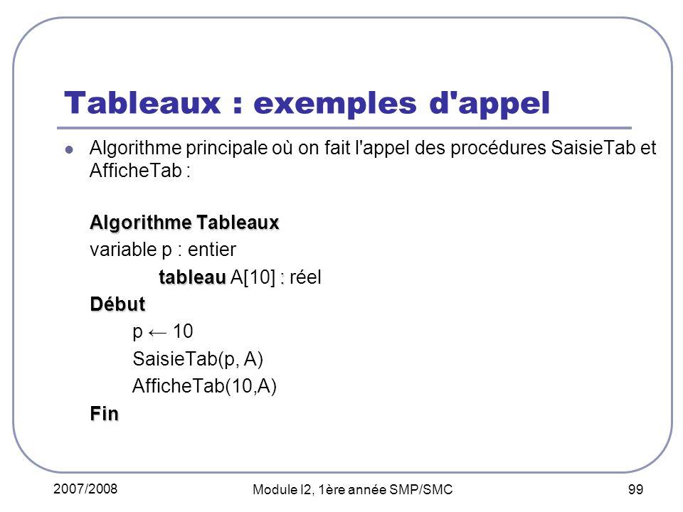 2007/2008 Module I2, 1ère année SMP/SMC 99 Tableaux : exemples d appel Algorithme principale où on fait l appel des procédures SaisieTab et AfficheTab : Algorithme Tableaux variable p : entier tableau : tableau A[10] : réelDébut p 10 SaisieTab(p, A) AfficheTab(10,A)Fin