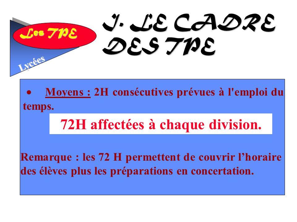 Les TPE Lycées Moyens : 2H consécutives prévues à l emploi du temps.