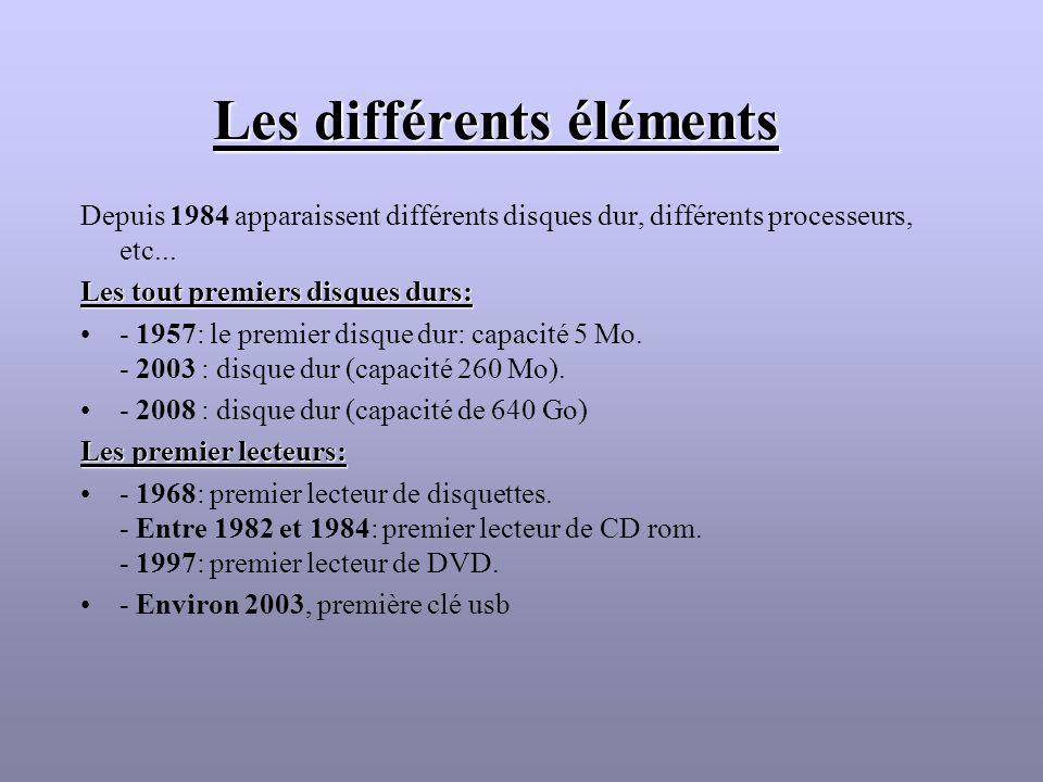 Les différents éléments Depuis 1984 apparaissent différents disques dur, différents processeurs, etc... Les tout premiers disques durs: - 1957: le pre