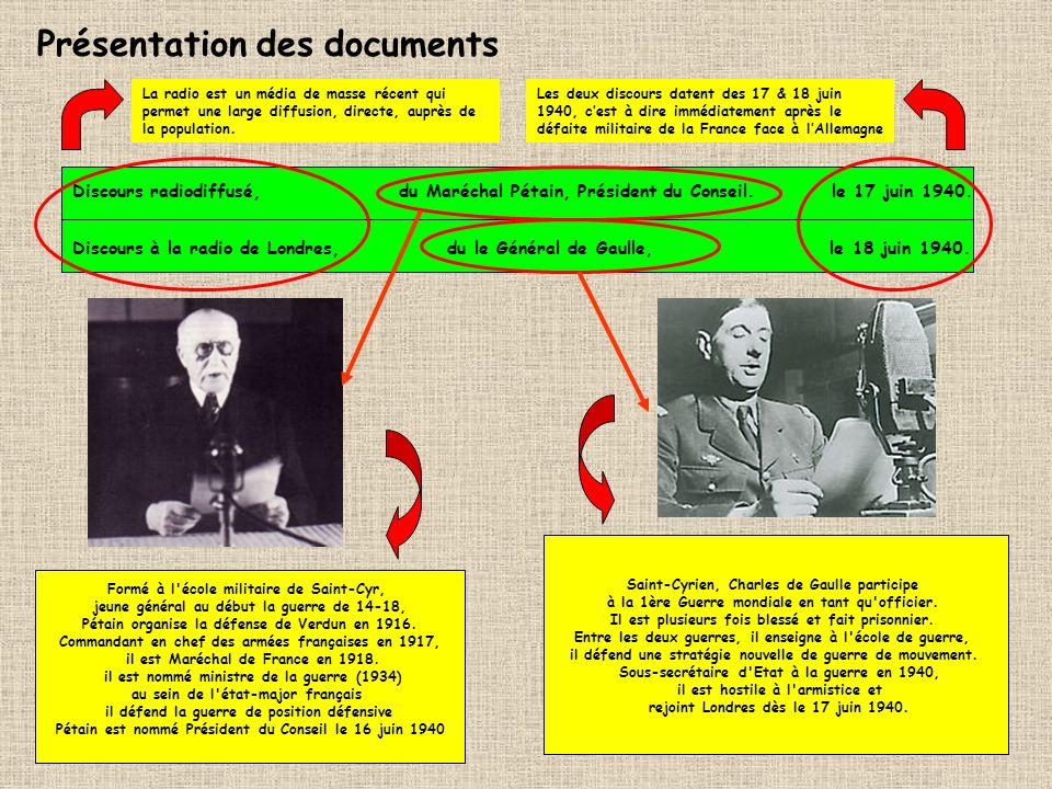 Discours radiodiffusé, du Maréchal Pétain, Président du Conseil. le 17 juin 1940. Discours à la radio de Londres, du le Général de Gaulle, le 18 juin
