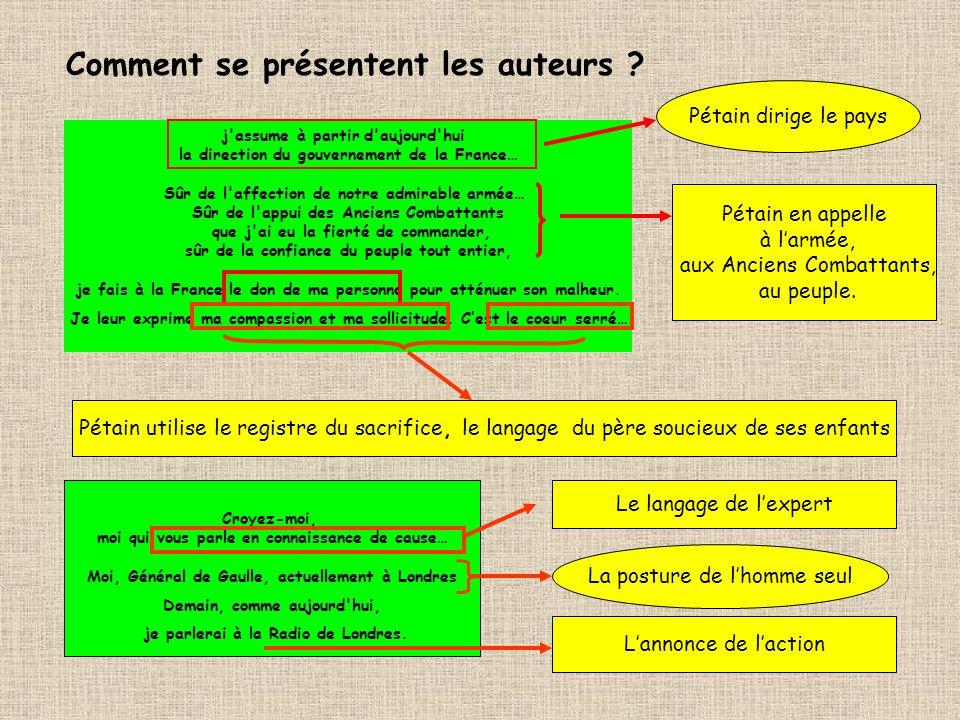 Comment se présentent les auteurs ? j'assume à partir d'aujourd'hui la direction du gouvernement de la France… Sûr de l'affection de notre admirable a