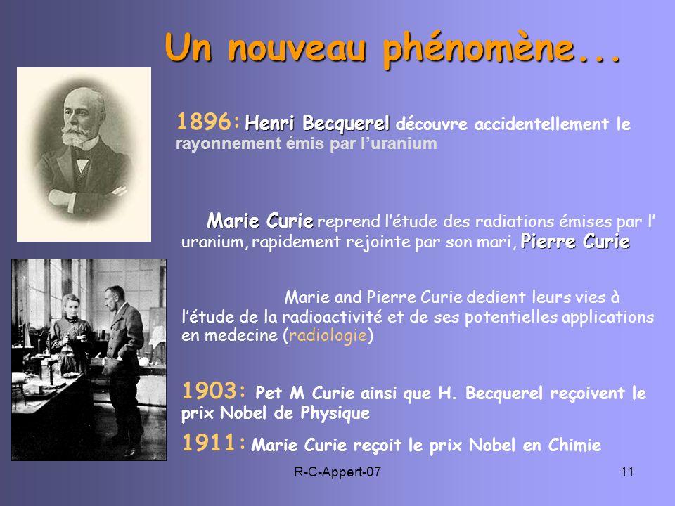 R-C-Appert-0711 Un nouveau phénomène... Henri Becquerel 1896: Henri Becquerel découvre accidentellement le rayonnement émis par luranium M arie Curie