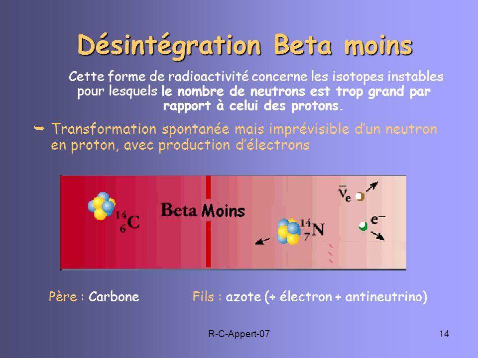 R-C-Appert-0714 Désintégration Beta moins Cette forme de radioactivité concerne les isotopes instables pour lesquels le nombre de neutrons est trop gr