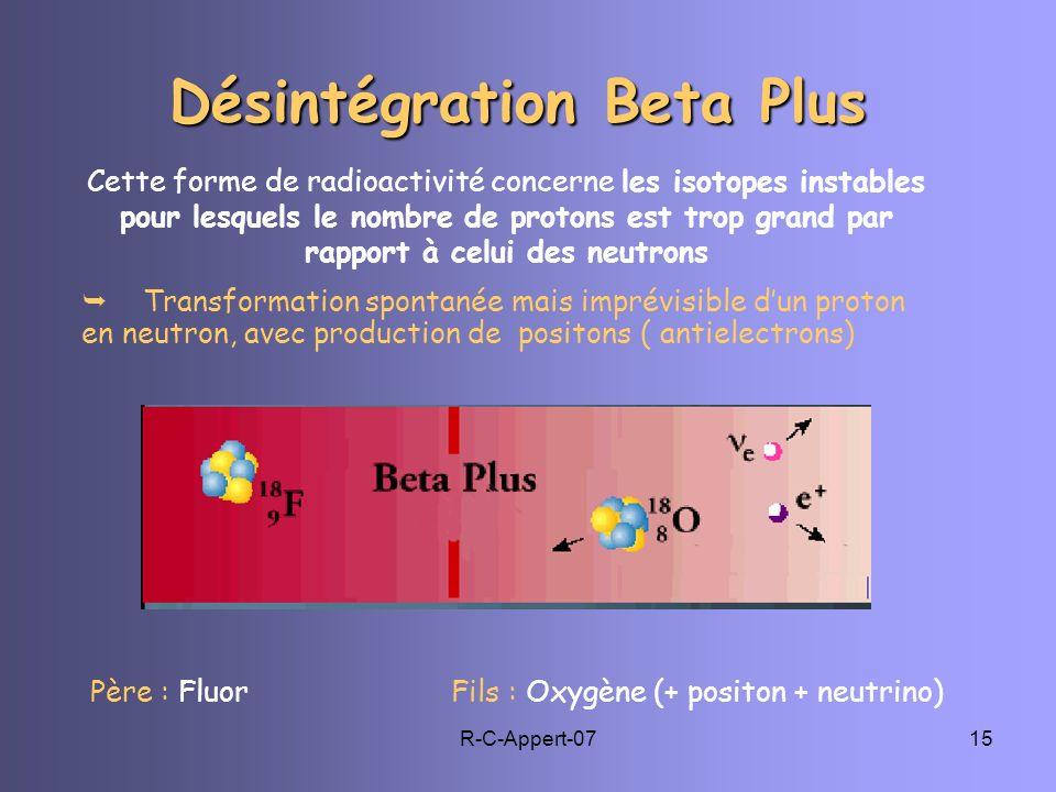 R-C-Appert-0715 Père : Fluor Fils : Oxygène (+ positon + neutrino) Cette forme de radioactivité concerne les isotopes instables pour lesquels le nombr