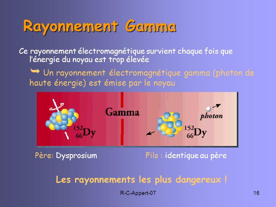 R-C-Appert-0716 Rayonnement Gamma Rayonnement Gamma Ce rayonnement électromagnétique survient chaque fois que lénergie du noyau est trop élevée Un ray