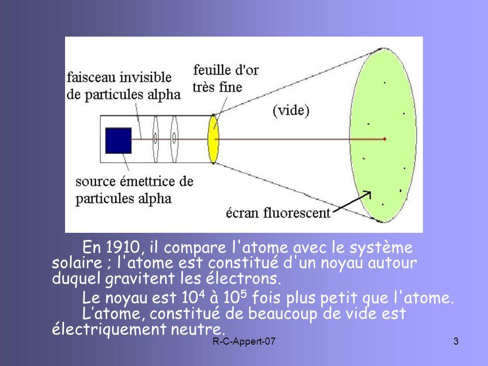R-C-Appert-073 En 1910, il compare l'atome avec le système solaire ; l'atome est constitué d'un noyau autour duquel gravitent les électrons. Le noyau